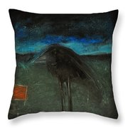 Night Bird With Red Square Throw Pillow