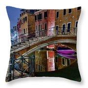 Night Bridge In Venice Throw Pillow