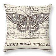 Night Butterfly On Old Letter Throw Pillow
