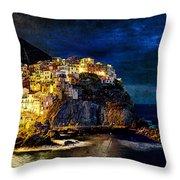 Night Comes To Manarola - Vintage Version Throw Pillow