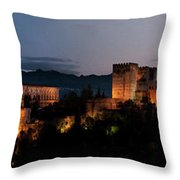 Night Comes To The Alhambra Throw Pillow
