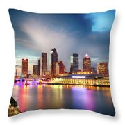 Night Downtown River Throw Pillow