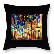 Night Etude - Palette Knife Oil Painting On Canvas By Leonid Afremov Throw Pillow