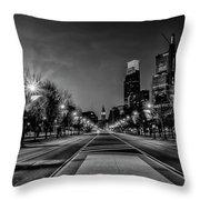 Night Falls On The City - Philadelphia - Black And White Throw Pillow