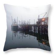 Night Fog Along The Dock Throw Pillow