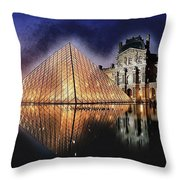 Night Glow Of The Louvre Museum In Paris Throw Pillow