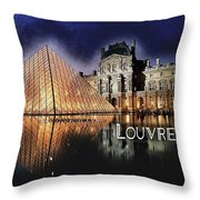 Night Glow Of The Louvre Museum In Paris  Text Louvre Throw Pillow