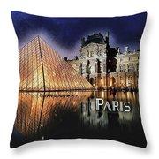 Night Glow Of The Louvre Museum In Paris Text Paris Throw Pillow