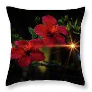 Night Hibiscus Throw Pillow