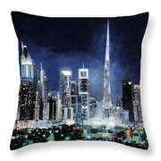 night in Dubai City Throw Pillow