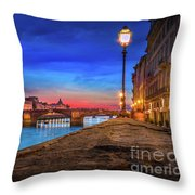 Night In Florence Italy Throw Pillow