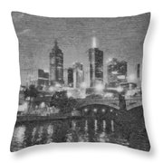 Night Landscape In Melbourne Throw Pillow