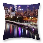 Night Lights At Rivers Edge Throw Pillow