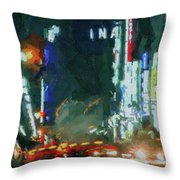 Night Lights City Throw Pillow