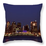 Night Lights Of Downtown Vancouver Throw Pillow
