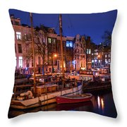 Night Lights On The Amsterdam Canals 7. Holland Throw Pillow