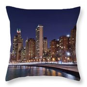 Night Lights On The Lakefront Throw Pillow