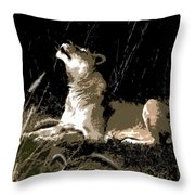 Night Lioness Throw Pillow