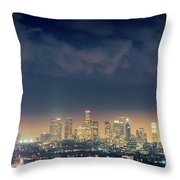Night Los Angeles Skyline Throw Pillow