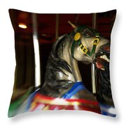 Night Mares At The Central Park Carousel 3 Throw Pillow