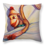 Night Night Sock Monkey Throw Pillow