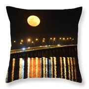Multi Reflective Bridge And Moon Lights Throw Pillow