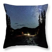 Night On The Blue River Throw Pillow
