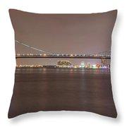 Night On The Delaware - The Benjamin Franklin Bridge Throw Pillow