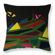 Night On The Green Fractures And Lights Throw Pillow