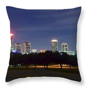 Night Pano Of Fort Worth Throw Pillow