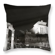Night Panorama In Rome Throw Pillow