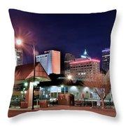 Night Panorama Of Okc Throw Pillow