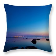 Night Reflections Sea Scape After Sunset Throw Pillow