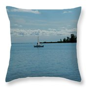 Night Sailing At Port Hope Bay Michigan Throw Pillow