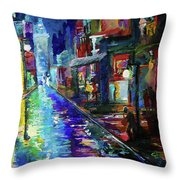 Night Scene In The Big Easy Throw Pillow