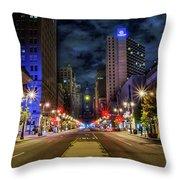 Night Shot Of Broad Street - Philadelphia Throw Pillow