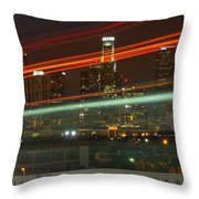 Night Shot Of Downtown Los Angeles Skyline From 6th St. Bridge Throw Pillow