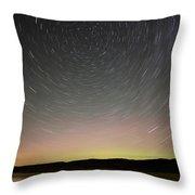 Night Shot Star Trails Lake Throw Pillow