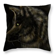 Night Silent Wolf Throw Pillow