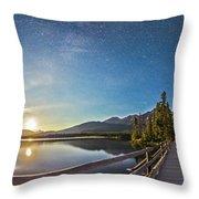 Night Sky Panorama Of Pyramid Lake Throw Pillow