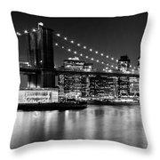 Night Skyline Manhattan Brooklyn Bridge Bw Throw Pillow by Melanie Viola
