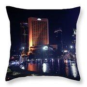 Night Skyline Of Jakarta Indonesia 3 Throw Pillow