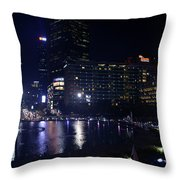Night Skyline Of Jakarta Indonesia 4 Throw Pillow