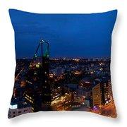 Night Tallinn City Line Panorama Throw Pillow