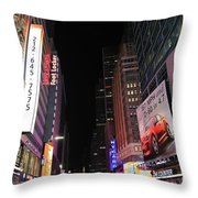 Night Time At Times Square Throw Pillow