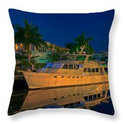 Night Time In Fort Lauderdale Throw Pillow