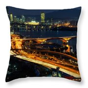 Night Traffic Over Han River In Seoul Throw Pillow