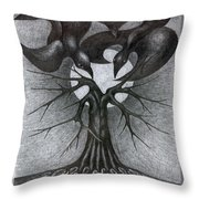 Night Tree Moon And We  Throw Pillow