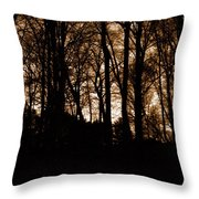 Night Trees Throw Pillow