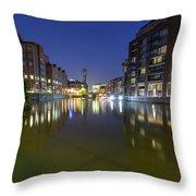 Night View Across River Avon To Temple Bridge Bristol England Throw Pillow